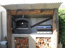 Mr Stoves pizza oven in outdoor cooking area